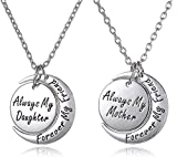 Mother's Day Jewelry Gift for Mom & Daughter Necklace Set for 2 - ''Always My Mother/Daughter Forever My Friend'' Unique Mom/Daughter Matching Moon Pendant Necklaces, Jewelry Gifts for Best Mom Ever (Silver Tone)