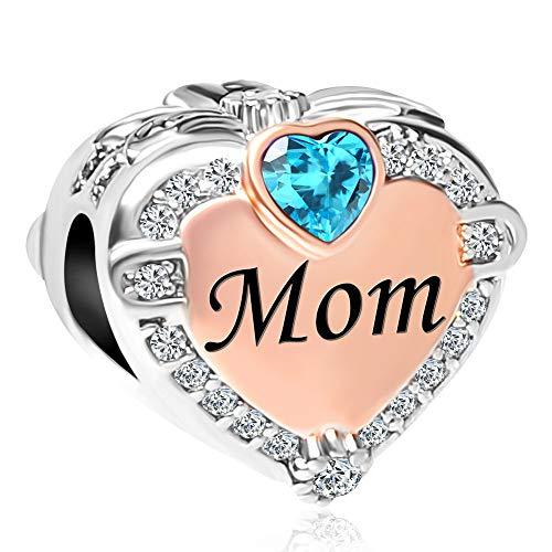 CharmSStory - Abalorio para pulsera, diseño de corazón con texto en inglés 'Mom Love'