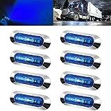 NBWDY 8pc Blue 4LEDs Side LED Marker Light Truck Trailer Side Marker Turn Indicators Car Turn Signal Lights for 10-24V Auto Truck Trailer Tail Car RV Camper Boat ATV Marine Warning Brake Lamp