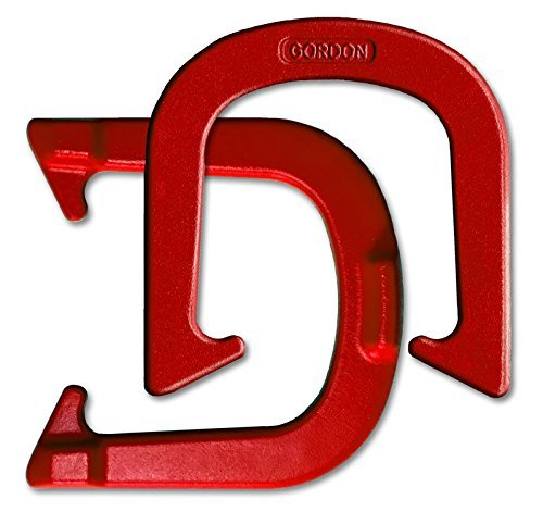 Gordon Professional Pitching Horseshoes - Red Finish - NHPA Sanctioned for Tournament Play - Drop Forged Construction - One Pair (2 Shoes) - Medium Weight