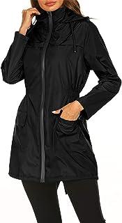 SotRong Chubasquero impermeable para mujer con capucha ligera y activa al aire libre