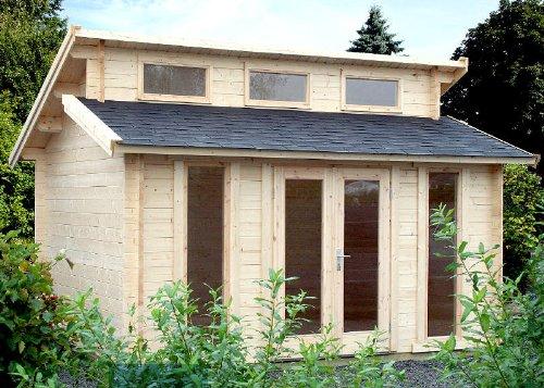 Gartenhaus LANGEOOG II B58 Blockhaus 410x410cm 58mm - Inkl. Fußboden+Verglasung