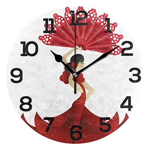 Aminka Runde Wanduhr mit Ventilator, rote spanische Tänzerin mit Ventilator, geräuschlose Acryl-Uhren für Zuhause, Wohnzimmer, Schlafzimmer, Küche, Schule, Büro