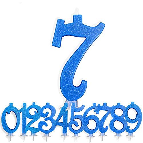 Candeline Compleanno Particolari Numeri Grandi 7 Anni BLU | Decorazione Torta Festa per Happy Birthday Bambino Ragazzo Uomo | Candele Topper Auguri Anniversario | Componi i tuoi Anni (Numero 7)