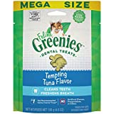 FELINE GREENIES Adult Dental Cat Treats, Tempting Tuna Flavor, 4.6 oz. Pouch