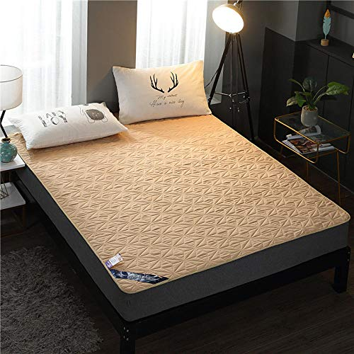 YFGY Sábanas de Cama,Funda de colchón Acolchada Impermeable, Protector de sábana Ajustable para Cama de Cama para Ancianos y niños, Camello Doble 100 * 200 cm