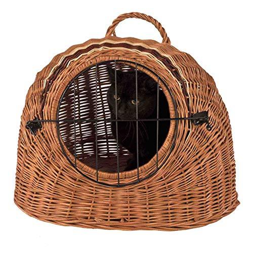 decorwelt Katzenkorb Weide Transportkorb Katze 43 x 52 x 37cm | Reise & Transport Hundekorb Katzenkorb Rattan | Katzen Transport Weidenkorb Katze | Transportbox Katze Transportbox Hund
