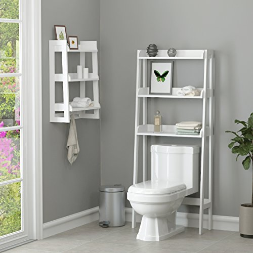 UTEX 3 Tier Bathroom Shelf Wall Mounted with Towel Hooks, Bathroom Organizer Shelf Over The Toilet (White) New Mexico