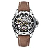 Boderry Original Urban Mens Stainless Steel Skeleton Watches Fashion Automatic-Self-Winding Mechanical Luminous Wrist Watch with Rubber/Leather Strap 72H Power-Reserve