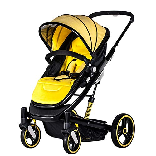 GXY Cochecito de bebé con respaldo para silla de paseo de bebé con luz de paisaje, plegable y amortiguador (color: amarillo, tamaño: 103 x 60 x 60 cm)
