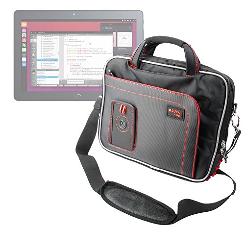 DURAGADGET Maletín con Diseño Ergonómico para la Tablet BQ Aquaris M10 Ubuntu Edition 10.1' | HD | Full HD - En Color Negro Y Rojo