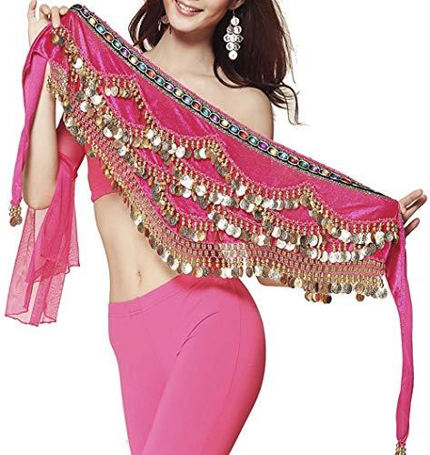 Pañuelo de Danza del Vientre Mujer Baile Oriental Bufanda Falda Cinturón de Cadera con 271 Monedas Lentejuelas (ZP142-fusia, Talla única)