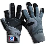 RainRider Sailing Gloves for Men Women Long Finger Fishing Boating Kayaking Surfing Dinghy Canoe Padding and Water Sports, Leather in Palm to Enhance Gripping(Grey,M)