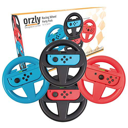 Orzly Steering Wheels for Nintendo Switch - Party Pack of FOUR Racing Wheels for use with Mario Kart 8 Deluxe, Switch Joy-Con Steering Wheel Controller Attachments – [2x Black, 1x Blue, 1x Red Wheels]