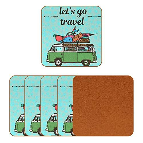 BENNIGIRY Mini furgoneta y equipaje posavasos de cuero cuadrado taza de café taza de cristal manteles individuales taza taza de taza de la taza de las esteras del lugar 6 piezas