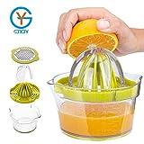 YLAN Exprimidor Zumo Manual Profesional de Plástico 4 en 1 Limon Limones Cítricos con 2 Escariadores y 400ml Peeler Container Measurement