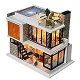 WSYGHP Maison de poupée en bois à monter soi-même, maison de poupée miniature, meubles de piscine, kit de construction, villa, jouet pour enfants