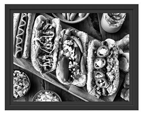 Picati Amerikaanse Hotdogs in schaduwvoeg fotolijst   kunstdruk op hoogwaardig galeriekarton   hoogwaardige canvasfoto alternatief 38x30