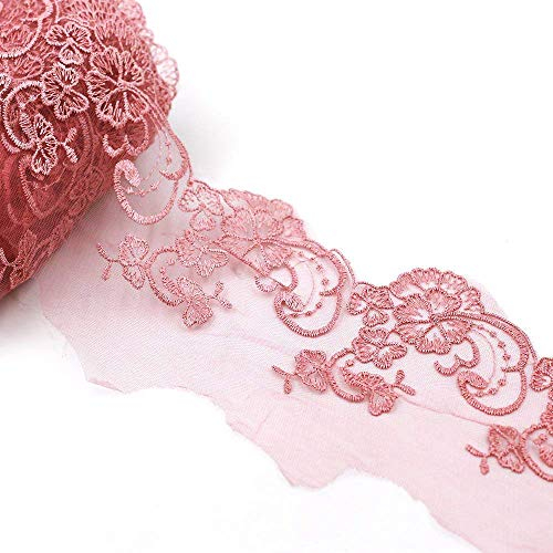 Nubstoer 15 Patio Aplique de Tejido Bordado Borde Festoneado 13cm Floral Crochet Cinta de Encaje