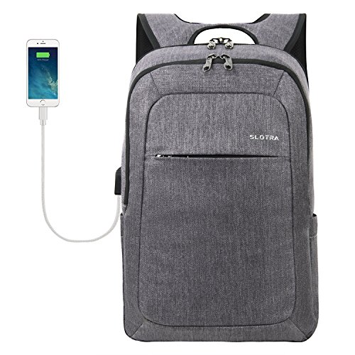 SLOTRA Laptop Aktentasche Laptop Rucksack 15,6 Zoll Multifunktions-Business-Rucksack mit USB-Ladeanschluss Laptop Messager Tasche Rucksack für die Arbeit College Grau (Grau A)