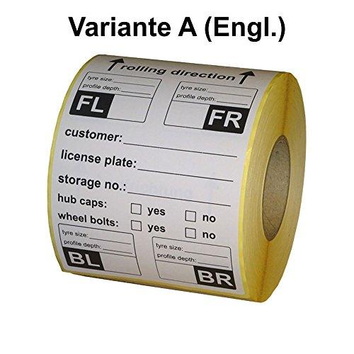 Lot de 480 étiquettes pour pneus - 100 x 150 mm - Variante A - Anglais