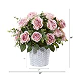 nearly natural 16in. rose and eucalyptus artificial tin vase silk arrangements, pink