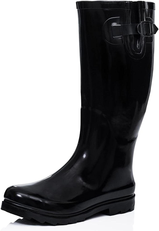 Flat Festival Wellies Wellington Rain Boots Black US 10