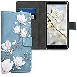 kwmobile Wallet Hülle kompatibel mit Huawei Y6 (2018) - Hülle mit Ständer Kartenfächer Magnolien Taupe Weiß Blaugrau