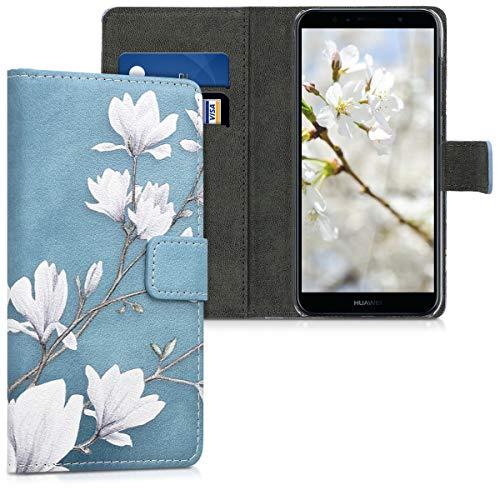 kwmobile Wallet Case kompatibel mit Huawei Y6 (2018) - Hülle mit Ständer Kartenfächer Magnolien Taupe Weiß Blaugrau