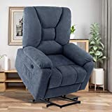 Power Lift Recliner Chair for Elderly,Microfiber Electric Massage Recliners Sofa Living Room Chairs with Heated Vibration,Side Pockets,USB Ports,Fabric Motorized Reclining Bed,Midnight Blue