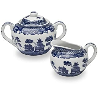 HIC Harold Import Co. YK-329 HIC Blue Willow Creamer Dispenser and Sugar Bowl with Lid, Fine White Porcelain, 3 Piece Set (B002RHP7WA) | Amazon price tracker / tracking, Amazon price history charts, Amazon price watches, Amazon price drop alerts