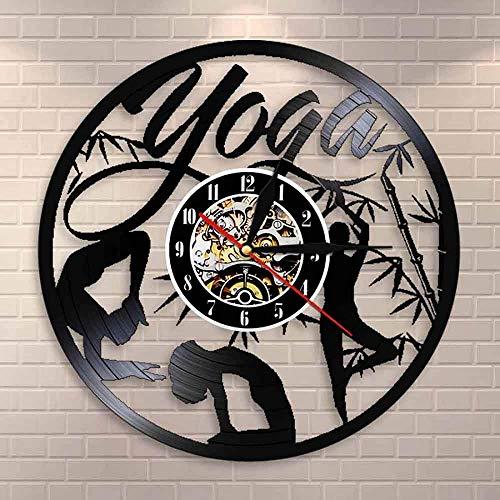 WZCXYX Find Your Balance Yoga Yoga Studio Reloj de Pared con Discos de Vinilo Citas sobre la Vida Reloj de Pared Mandala Om Meditate Zen Lotus Buddha Spirit