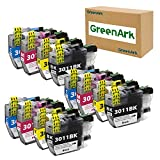 GREENARK Compatible Ink Cartridge Replacement for Brother LC3011 LC-3011 3011 BKCMY Work for Brother MFC-J491DW MFC-J895DW MFC-J690DW MFC-J497DW Printer (3 Black, 3 Cyan, 3 Magenta, 3 Yellow, 12 Pack)