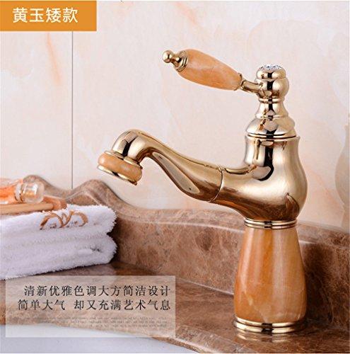 Hlluya Wasserhahn für Waschbecken Küche Alle Kupfer antik natürliche Jade Gold Pull-down Wasserhahn warmes und Kaltes vergoldete Marmortisch Waschbecken Wasserhahn