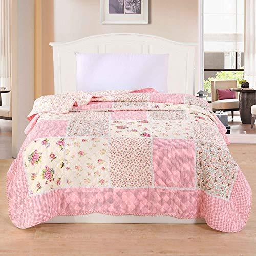 Alicemall Copriletto, coperta da soggiorno, estivo, in cotone, trapuntato, patchwork, per letto singolo, 150 x 200 cm, Cotone, Motivo 7., Singolo