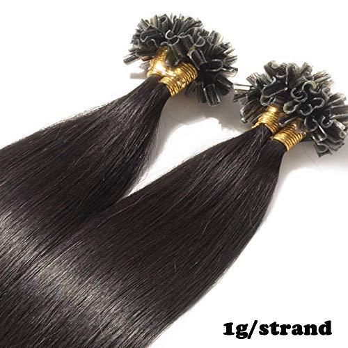 Extension Cheveux Naturel Keratine 1G Pose a Chaud 50 Mèches (#1B Noir naturel, 50cm-50g)