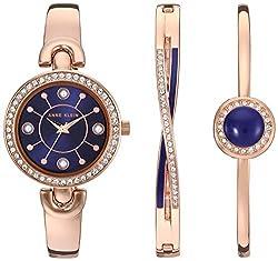 AK/3574NRST Swarovski Crystal Accented Watch and Bracelet Set