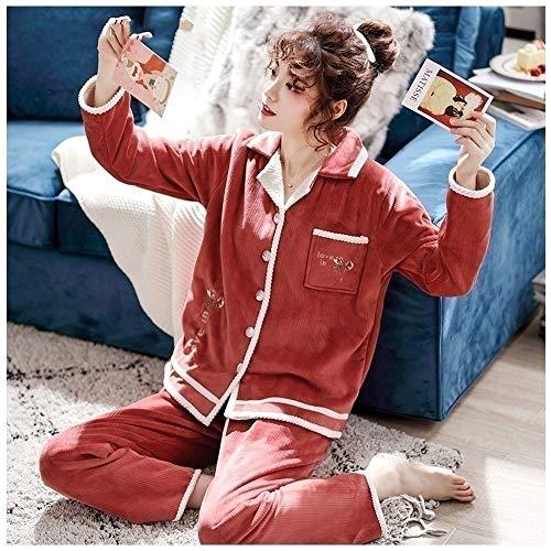Albornoz Conjuntos de pijamas pijamas con los paquetes de las mujeres de 2 piezas de pantalones de pijama de moda ropa de dormir polar de coral con botones Sueño Sueño Establece las bragas for las muj