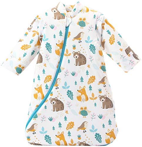 Chilsuessy Baby Schlafsack mit abnehmbaren Ärmeln Winter Angedickte, Wald bär/3.5 Tog, M/Körpergröße 75-85cm