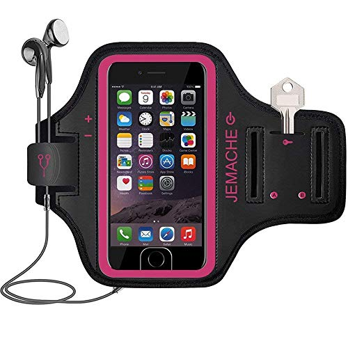 iPhone 6S/7/8 Armband, JEMACHE Fingerprint Touch Supported Sports Jogging Running Exercise Workout Gym Arm Band for iPhone 6/6S/7/8 with Key/Card Holder (Rosy)