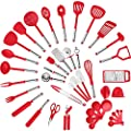Klee Nylon Kitchen Utensil Set - 42 pc Stainless Steel Cooking Utensils Set - Spatula, Grater, Basting Brush, Meat Fork, Pizza Cutter, Sauce Ladle, Peeler, Can Opener and More - Nonstick Cookware Set