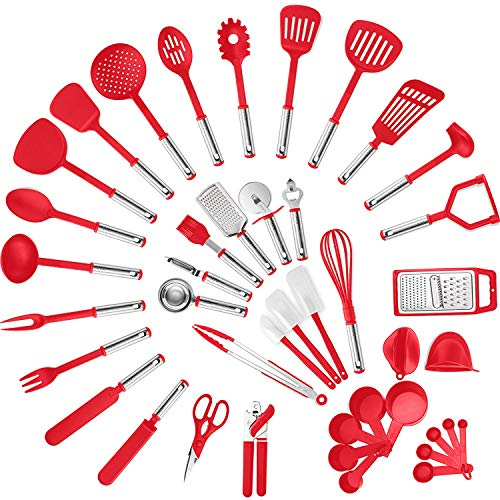 Klee Deluxe 42-Piece Heat-Resistant Stainless Steel and Nylon Kitchen Utensil Set (Red)