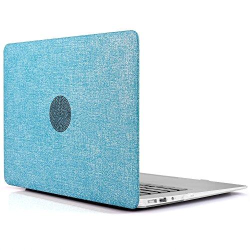 iDOO MacBook Schutzhülle/Hard Case Cover Laptop Hülle [Für MacBook Air 13 Zoll: A1369/A1466] - matt, Textil-Optik/Denim, Hellblau