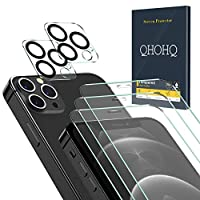 ★QHOHQ Designed for iPhone 12 Pro 5G [6.1 Inch] 2020 Screen Protector.screen protection film and lens protection film are both made of high-quality tempered glass. The precise laser cut size can cover the entire mobile phone screen and provide maximu...