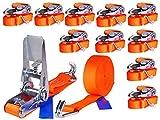 10 x 800 kg 6 m Tensor de carraca Cinchas correa trinquete con gancho Eslingas con carraca Pulpos para baca 25 mm