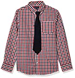French Toast Boys' Long Sleeve Dress Shirt with Tie, Red Plaid, 4
