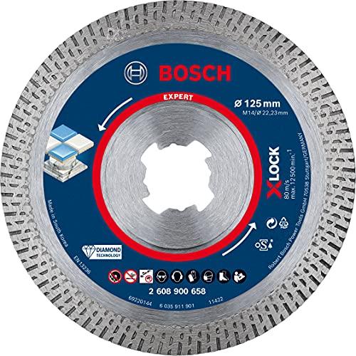 Bosch Professional 1 x Discos de corte de diamante Expert HardCeramic X-LOCK, para Azulejos duros, Piedra dura, 125 mm, Accesorios Amoladora pequeña