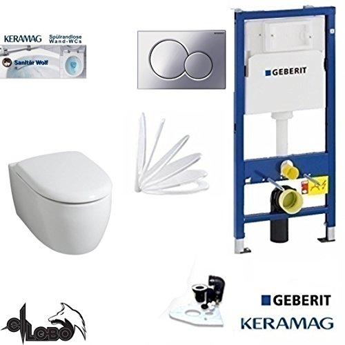 Geberit Duofix UP 320 Vorwandelement mit Sigma01 CHROM, Keramag ICON XS, rimfree, Spülrandlos, Tiefspül-WC, inkl. Sitz,Keratect Beschichtung