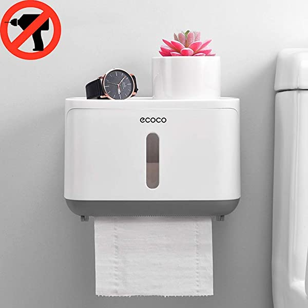 Ruichicoo Toilet Roll Holder Wall Mounted Self Adhesive Paper Holder Adhesive Toilet Paper Roll Holder With Shelf No Drilling Wall Mount Bathroom Toilet Tissue Holder Grey