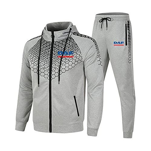 SPONYBORTY Tuta da uomo e da donna Tuta da jogging D.A.F Tuta sportiva da 2 pezzi a righe con cappuccio-maglione + pantaloni Ragazzi/gray/XXL